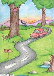 jezek opazuje avto